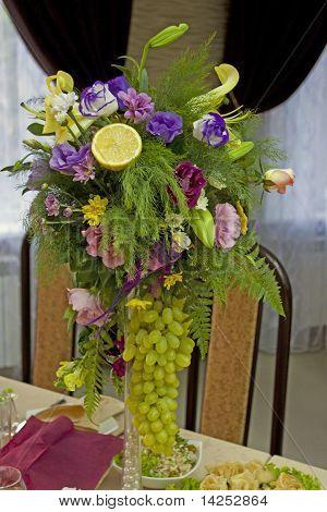 Bouquet with a lemon and colours