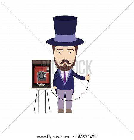 Vector Illustration in Flat Style of an Early Twentieth Century Retro Photographer with Vintage Camera