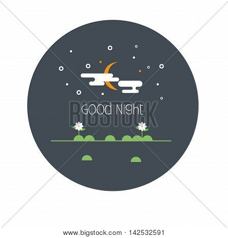 Vector illustration flat style card  goodnight. .  vector illustration