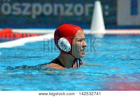 Budapest Hungary - Jul 16 2014. Great Britain's MORRIS Rosemary (GBR 1) goalkeeper and captain of the team. The Waterpolo European Championship was held in Alfred Hajos Swimming Centre in 2014.