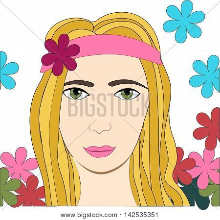 Vector illustration of hippie girl with flowers and headband sign of peace and pacifism colorful