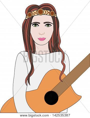 Vector illustration of hippie girl with guitar and headband sign of peace and pacifism colorful
