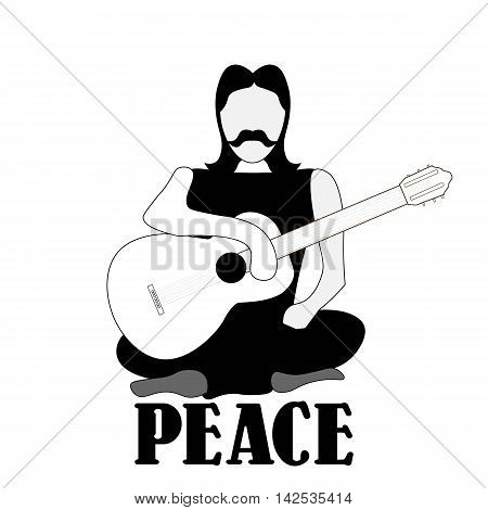 Vector illustration of cross-legged hippie man with guitar sign of peace and pacifism black and white