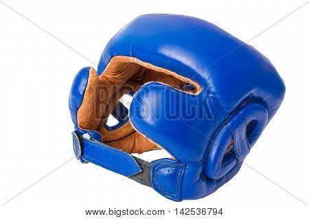 Leather Helmet boxing blue, on a white background