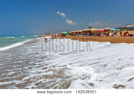 ZACHARO, GREECE - AUGUST 08, 2016: Beach in western Peloponnese in the district of Elis on August 08 2016.