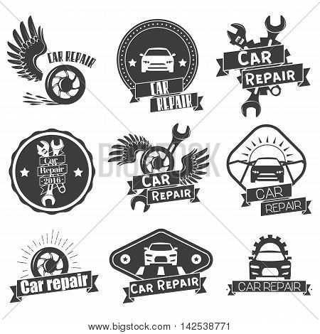 Vector set of auto service labels in vintage style. Car repair shop banners. Mechanic service tools isolated on white background. Design elements, emblems, badges, logo and icons.