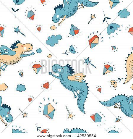 Cute funny vector seamless pattern. doodle baby shower cards brochures invitations animals star dragons dinosaur diamonds cloud rain drops flowers Cartoon background Child wallpaper