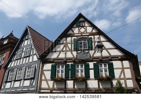 MARBACH AM NECKAR, GERMANY - JUNE 11, 2015: Traditional half-timbered house where Friedrich Schiller was born in 1759 in Marbach am Neckar, Baden-Wurttemberg, Germany.