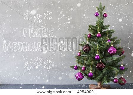Christmas Tree With Purple Christmas Tree Balls And Snowflakes. Gray Cement Or Concrete Wall For Urban, Modern Industrial Styl. German Text Frohe Weihnachten Means Merry Christmas