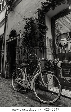 Beautiful beautiful ancient streets of Rome on a black and white photo.