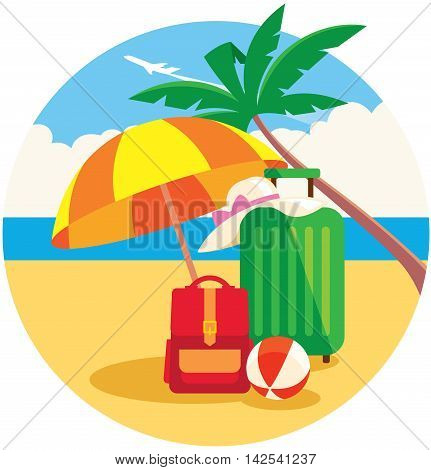 Vector illustration of baggage on the summer beach under a palm tree and flying plane in the sky