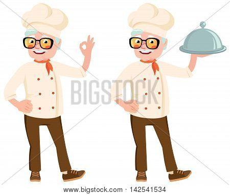 Stock vector illustration of a senior cook in the hood holding a dish in her hand and showing okay gesture