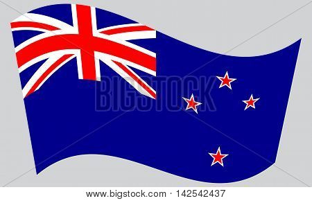 Flag of New Zealand waving on gray background. New Zealand national flag.