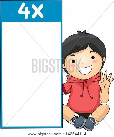 Illustration of a Little Boy Sitting Beside a Multiplication Flash Card for Multiples of Four