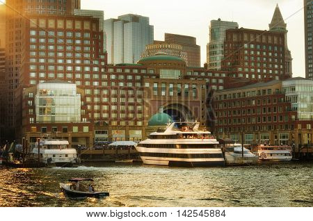 Boston Massachusetts USA- 5 August 2016: View of Financial District and Harbor in Boston Massachusetts USA
