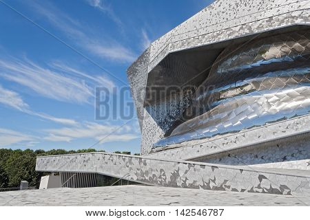 PARIS, FRANCE-AUGUST 7, 2016: Philharmonie de Paris in Parc de la Villette