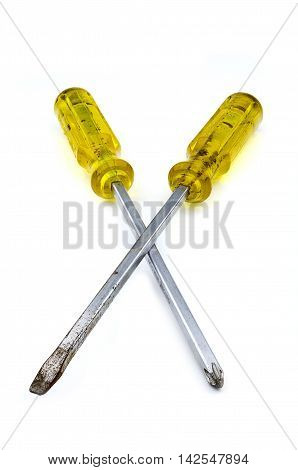 yellow screw driver, Isolate on white background