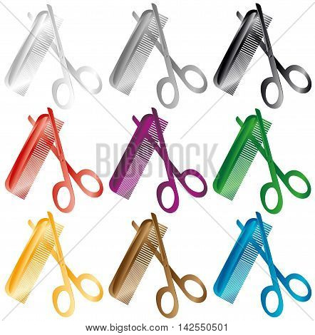 Barber comb and scissors. A set of several colors