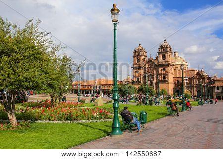 Cusco, Peru - January 20: Iglesia De La Compania De Jesus On Plaza De Armas On January 20, 2015  In