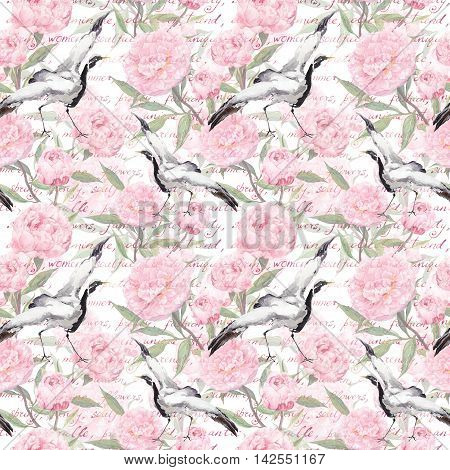 Crane birds with pink peony flowers and hand written text. Floral seamless pattern in japanese style. Watercolor