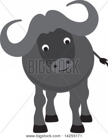 buffalo modern colour cartoon character on white background