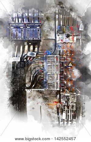 Electrical panel with fuses and contactors. Digital watercolor painting. poster