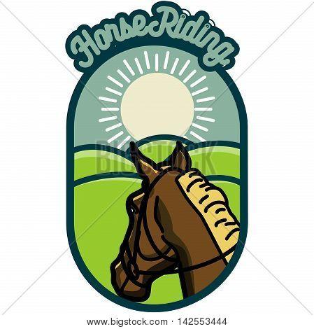 Color vintage Horse riding emblems, Vector illustration, EPS 10