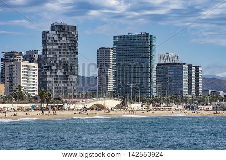 BARCELONA SPAIN - JULY 13 2016: Beach and New buildings at Sant Marti district Barcelona Spain