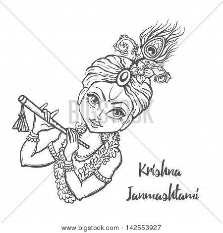Ornament card with Lord Shri Krishna birthday. Illustration in vector art. Happy Janmashtami Day Hindu. poster