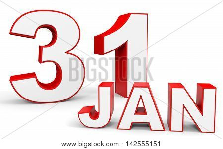 January 31. 3d text on white background. Illustration. poster