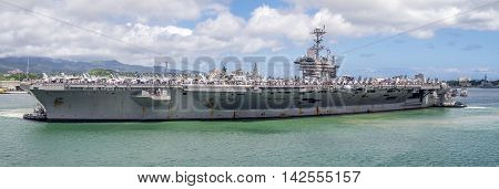 OAHU, HI - AUG 5, 2016:  The USS John C. Stennis on August 5, 2016 in Pearl Harbor, USA. The John C. Stennis is a Nimitz class nuclear powered aircraft carrier..