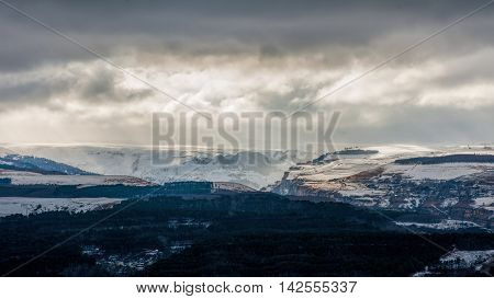 Mountain ridge near Kislovodsk Caucasian mountains covered with snow