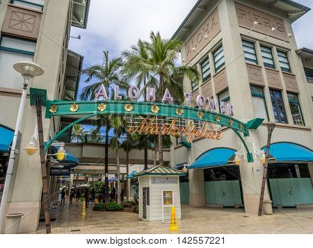 HONOLULU, HI - AUG 6: View of the new Aloha Tower Market Place on August 6, 2016 in Honolulu, Hawaii. Newly renovated Aloha Tower Marketplace is the gateway to Honolulu Harbor.