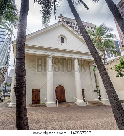 HONOLULU, HI - AUG 6: The Cathedral Basilica of Our Lady of Peace on August 6, 2016 in Honolulu. It is the Mother Church of the Diocese of Honolulu and houses the cathedra of the Bishop of Honolulu.