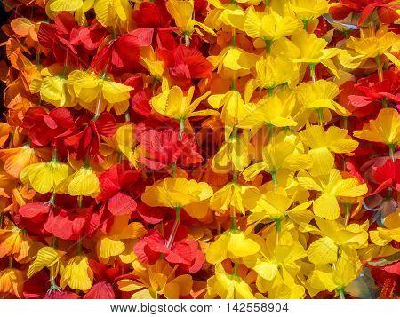 Colorful Hawaiian lei flowers from Honolulu, Hawaii.