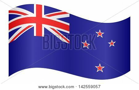 Flag of New Zealand waving on white background. New Zealand national flag. vector