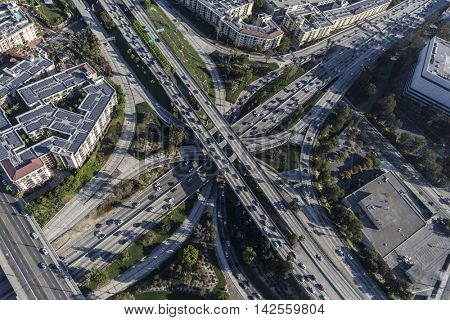 Los Angeles, California, USA - August 6, 2016:  Aerial view of downtown Los Angeles Harbor 110 and Hollywood 101 freeways four level Interchange.