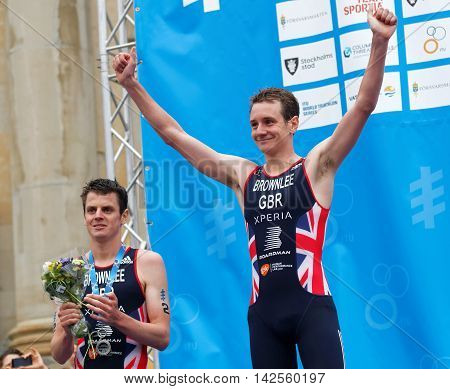 STOCKHOLM - JUL 02 2016: The smiling triathlete medalist Alistair and Jonathan Brownlee on the podium in the Men's ITU World Triathlon series event July 02 2016 in Stockholm Sweden