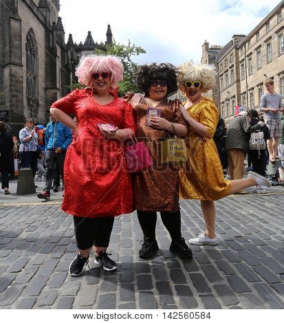 EDINBURGH- AUGUST 13: Members of The Sundaes publicize their show Diva Las Vegas during Edinburgh Fringe Festival on August 13, 2016 in Edinburgh, UK