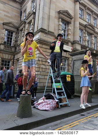 EDINBURGH- AUGUST 13: Members of Livewire publicize their show Twelfth Night during Edinburgh Fringe Festival on August 13, 2016 in Edinburgh, UK