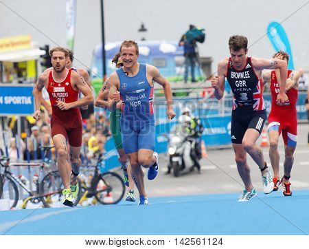 STOCKHOLM - JUL 02 2016: Running triathlete Jonathan Brownlee and competitors in the Men's ITU World Triathlon series event July 02 2016 in Stockholm Sweden