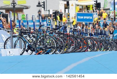STOCKHOLM - JUL 02 2016: Lot's of triathlete bicycles waiting in the transition zone in the Men's ITU World Triathlon series event July 02 2016 in Stockholm Sweden