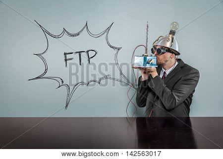 FTP text with vintage businessman kissing machine