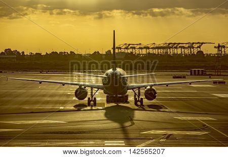 Aircraft in the airport of Barcelona early morning