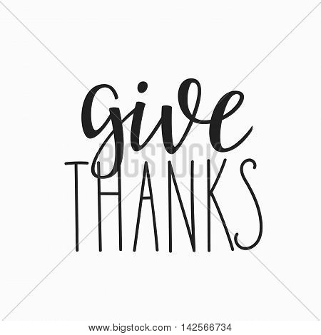 Thank you Friendship Family Positive quote thanksgiving lettering. Calligraphy postcard or poster graphic design typography element. Hand written vector postcard. Give Thanks