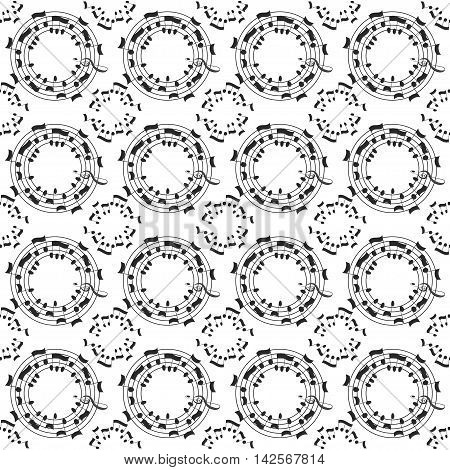 Music seamless pattern background. Blac notes on white background. Vector musical symbols