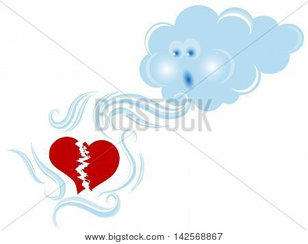 Blue cloud consoling a red broken heart