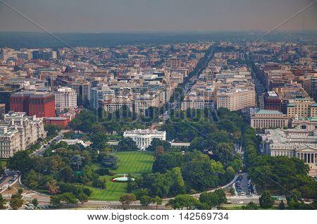 Washington DC cityscape with the White House