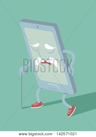 Outdated smartphone cartoon character flat vector illustration