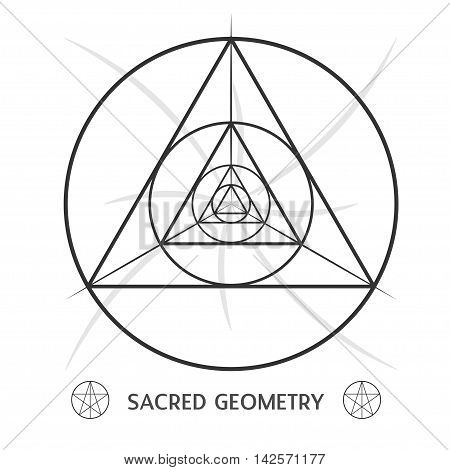 sacred geometry symmetric symbol. Stock vector illustration